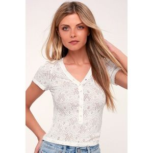 White Lace Button Short Sleeve Top